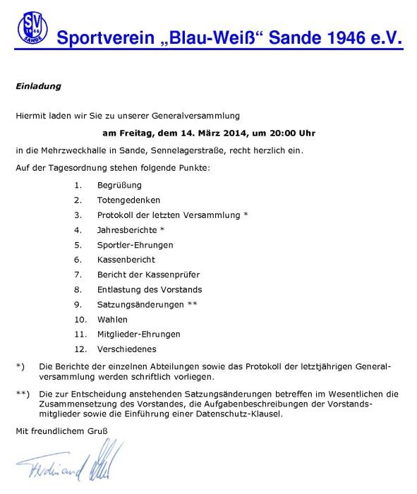 """aktuelles vom sv """"blau-weiß"""" sande 1946 e.v., Einladung"""